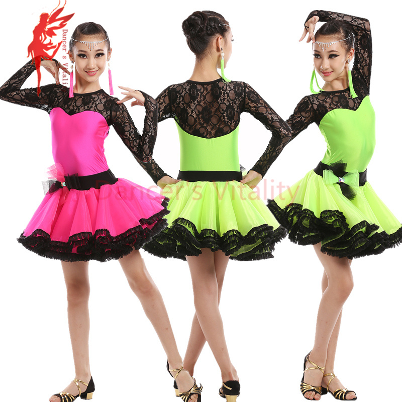 New winter Adult Child Latin dance costume spandex lace long sleeves latin dance dress for child latin dance dresses S-4XL rumbelow s dance