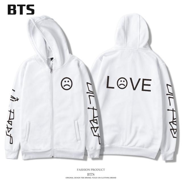 BTS Lil Peep Hoodies Men Zipper Comfortable Homme Printing Fashion Harajuku New European Style Tracksuit Loose Hoodie Sweatshirt