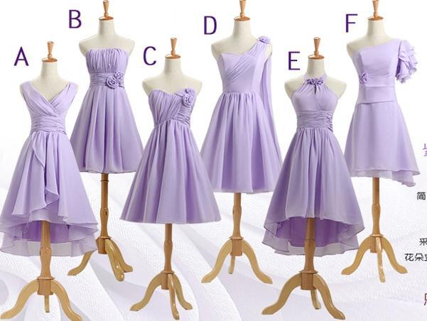 Short Light Purple Bridesmaid Dress Customize Size For