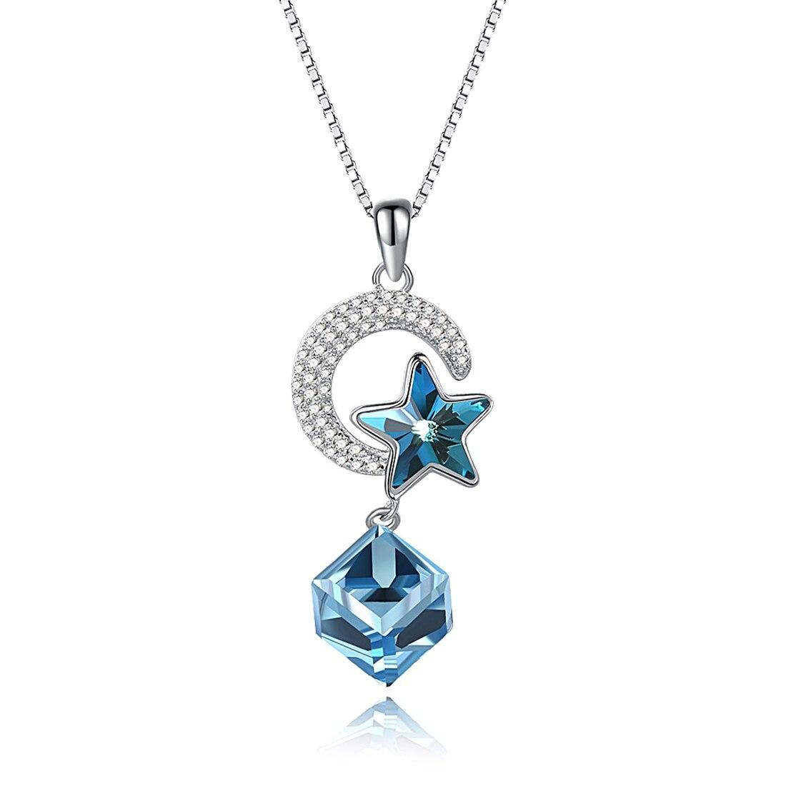 LEKÁNI Cristaux de Swarovski Élément Étoile Tenir Lune Pendentif et Collier 925 Collier En Argent Sterling Cadeau D'anniversaire Fournir
