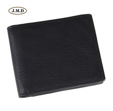 J.M.D Genuine Leather Short Purse Fashion Design Wallet Mens New Style Business Black Color Card Holder Photo 8055A