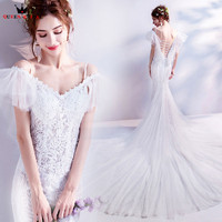 Mermaid Big Train Lace Elegant Long Sexy Wedding Dresses 2018 New Fashion Real Wedding Gown Vestido