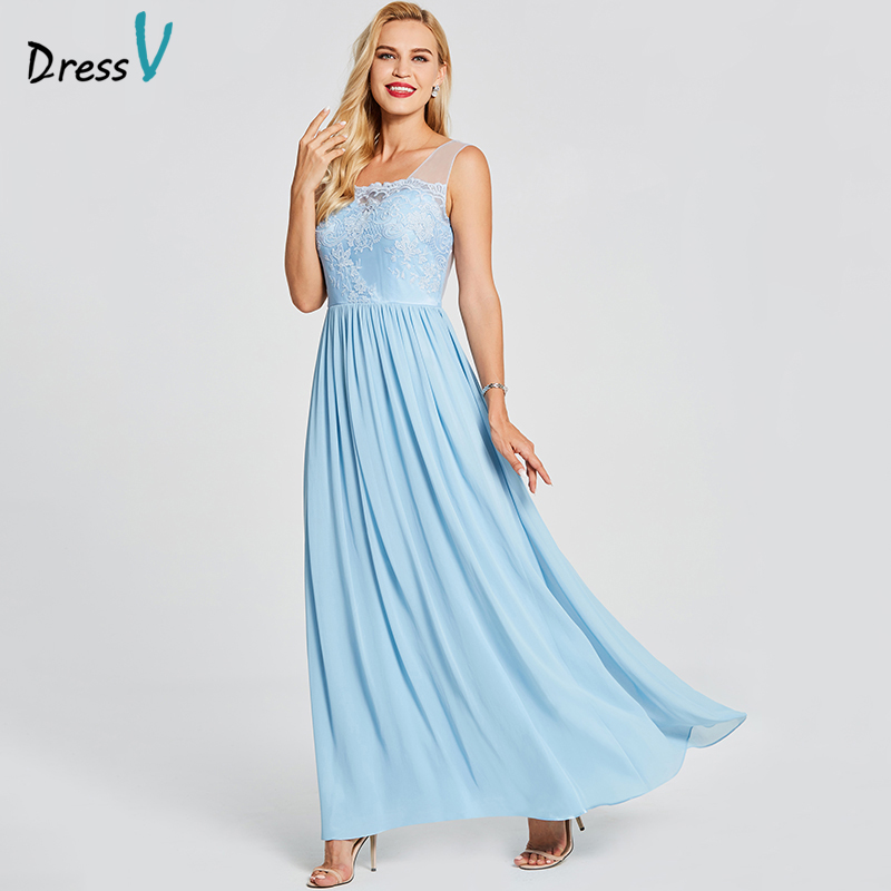 Dressv Blue Evening Dress Cheap A Line Sleeveless Scoop Neck Zipper Up Wedding Party Formal Appliques Backless Evening Dresses