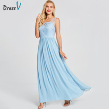 Dressv blau abendkleid günstige eine linie sleeveless scoop neck zipper up wedding party formal appliques backless abendkleider(China)