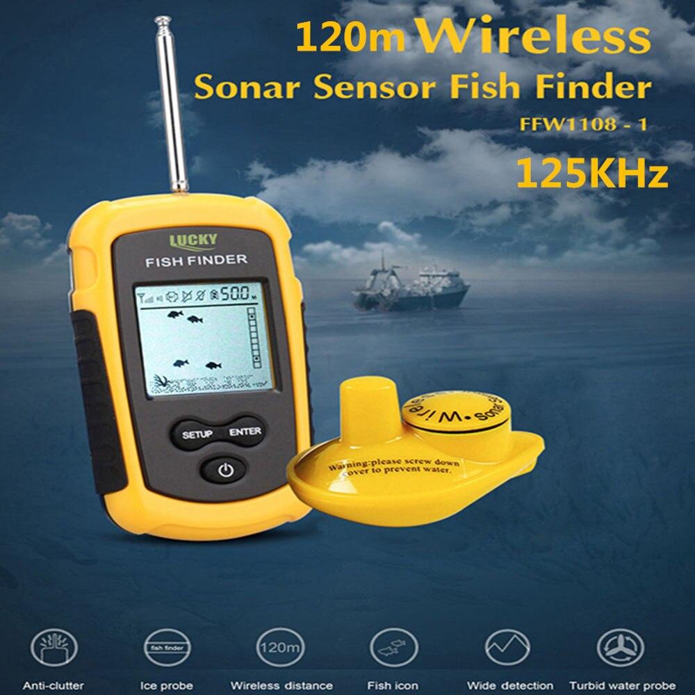 FFW1108-1 chanceux 120 m détecteur de poisson sans fil Sonar capteur transducteur écho sondeur détecteur d'alarme pour la pêche 125 kHz poissons Finders