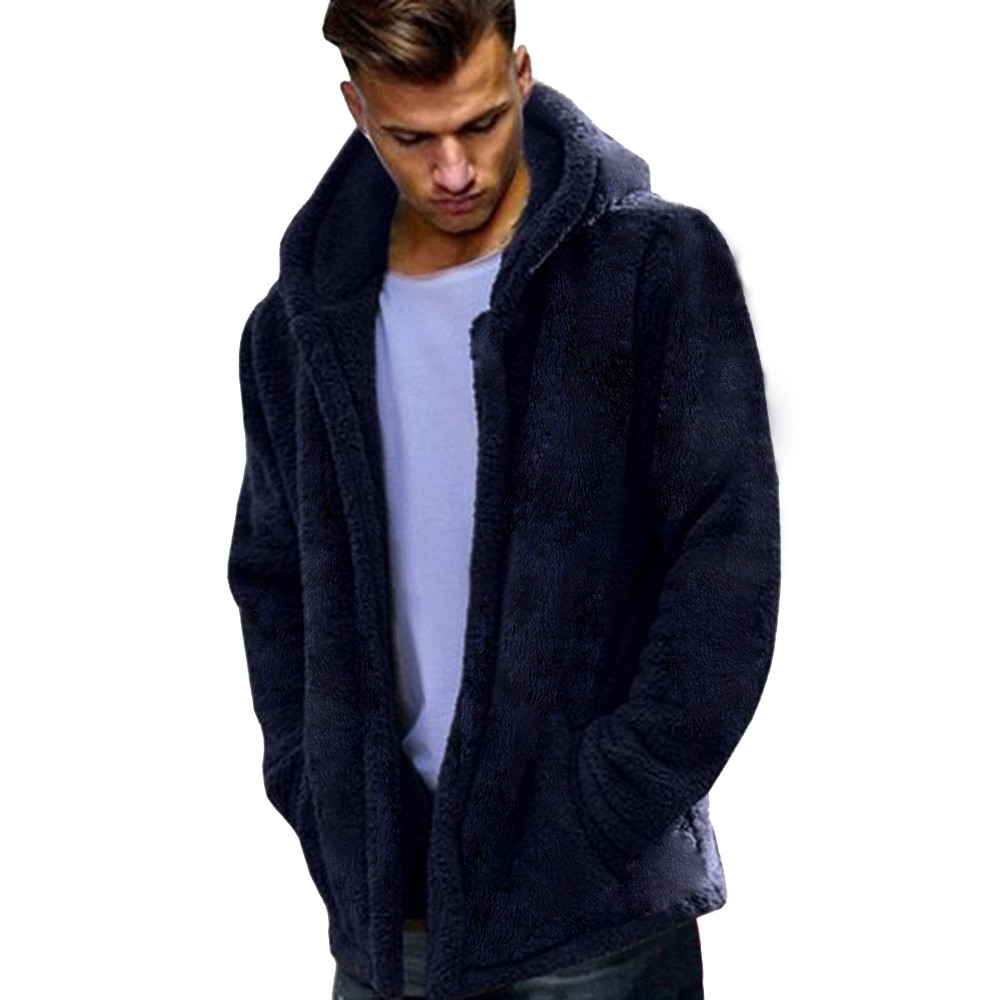 FeiTong Windbreaker Jacket Men Hip Hop Teddy Bear Autumn Winter Casual Loose Double-Sided Plush Hoodie Tops Mens Clothing Coat 1