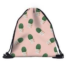 Cactus Drawstring Bag for Girls Travel Storage Package Cartoon School Backpacks