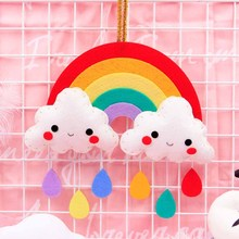 DIY Craft Kit Hanging Decoration Rainbow Children Handmade Sewing Cute Cloud Raindrop Ornament Door&Room Pendant Felt Sets