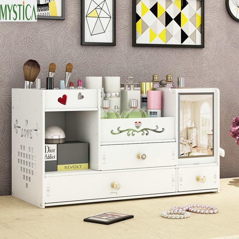 Boîte de rangement cosmétique de bureau maison tiroir miroir commode conteneur boîtes maquillage soins de la peau bijoux rouge à lèvres étagère organisateur Case
