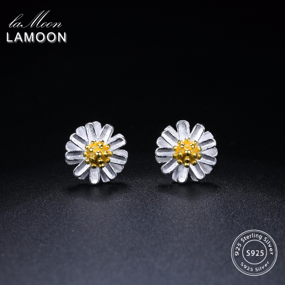 LAMOON 2017 New Handmade Chrysanthemum Flower Shape Real 925-sterling-silver Earrings Fine Jewelry for Women Girl Gift LMEY022
