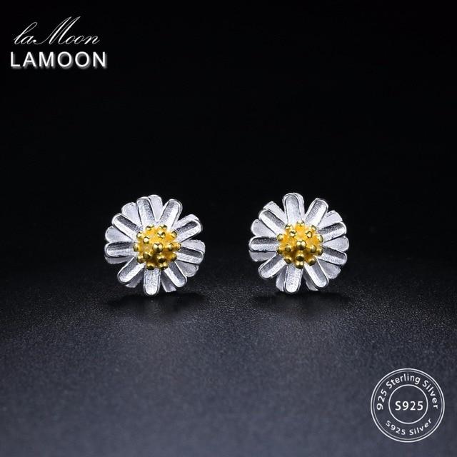 LAMOON 2017 New Handmade Chrysanthemum Flower Shape Real 925-sterling-silver Ear