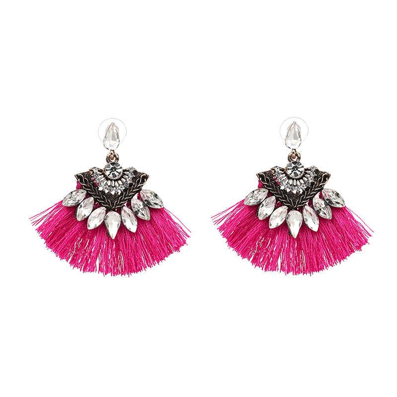 Đồ Trang Sức dân tộc Bohemia Dangle Earrings Drop Bông Tai Phụ Nữ Phụ Kiện Fan Hình Bông Handmade Tua Tua Bông Tai