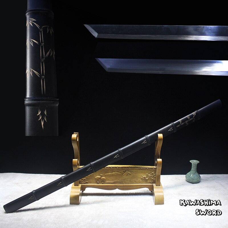 Espada de bambú japonesa decorativa samurái Katana hoja de acero Real forjado a mano completo Tang afilado arte marciales 2019 nueva llegada-in Espadas from Hogar y Mascotas    1