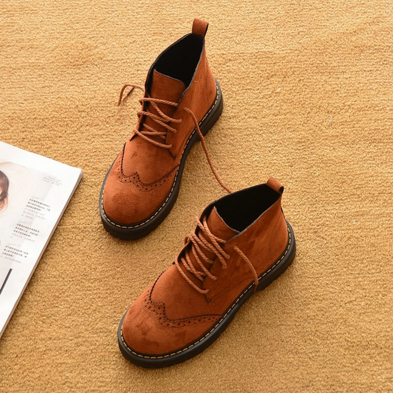 Winter Lace Up Women s Shoes Brand Boots Women Flat Heel Round Toe Ankle Boots For