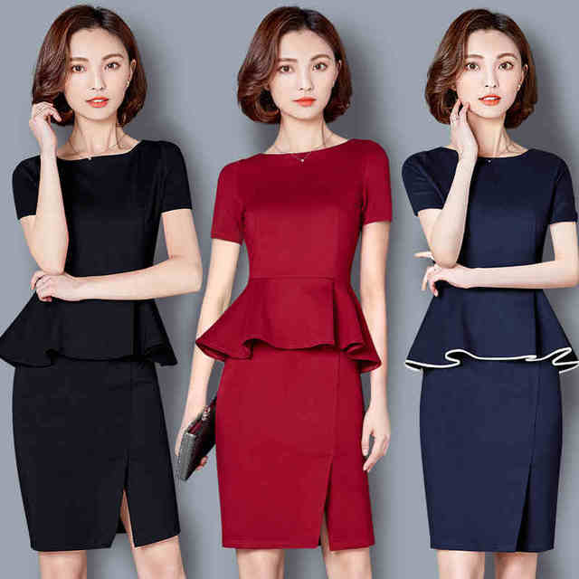 c7f9dbd9c6e 2018 Summer Women Suits Blazer Dress Professional Long Sleeve Office Lady  Work Uniform Dress Suit OL Ruffles Formal Dress suits