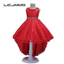 lememogo High-end Girls Dresses for Party and Wedding Princesa Clothing Kids Crystal Sashes Tutu Party Dresses Girls Ball Gown