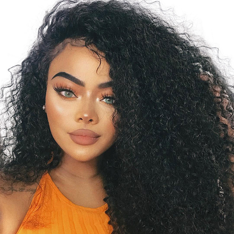Ever Beauty Kinky Curly 250% Density Lace Front Human Hair Wig Brazilian Non-remy Hair Natural Black