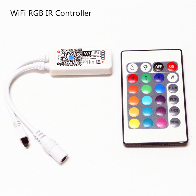 DC 5V 12V 24V Mini Bluetooth / WiFi LED RGB / RGBW Controller iOS Android APP 24Key IR Remote Controler for 3528 5050 LED Strip