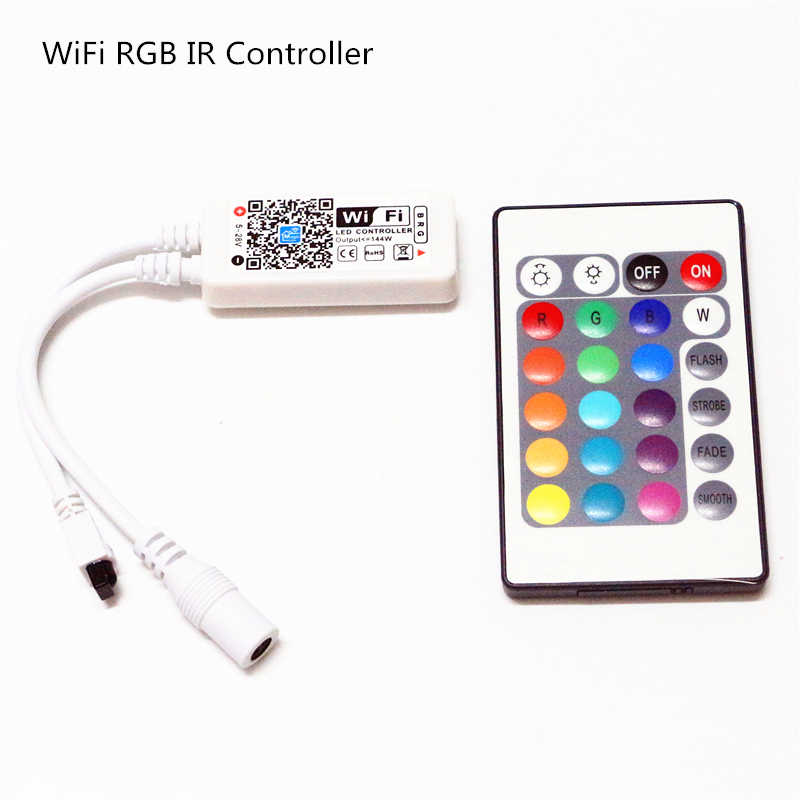 DC 5V 12V 24V Mini Bluetooth/WiFi LED RGB/RGBW Controller iOS Android APP 24Key pilot zdalnego sterowania na podczerwień kontroler dla 3528 5050 taśmy LED