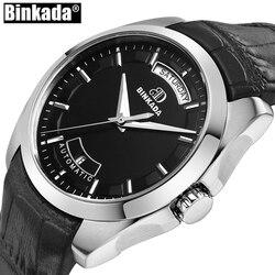 Nowy automatyczny kalendarz mechaniczny mężczyźni prosty zegarek Relogio Masculino wodoodporny Sport Casual Business zegarek męski zegar