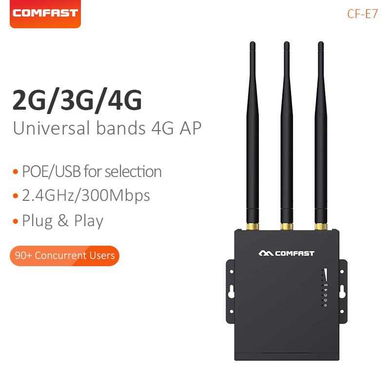 Comfast High-Speed Outdoor AP 2.4G 4G LTE Wireless AP Wifi Router Plug and Play Waterproof Wireless Router Access Point CF-E7Comfast High-Speed Outdoor AP 2.4G 4G LTE Wireless AP Wifi Router Plug and Play Waterproof Wireless Router Access Point CF-E7