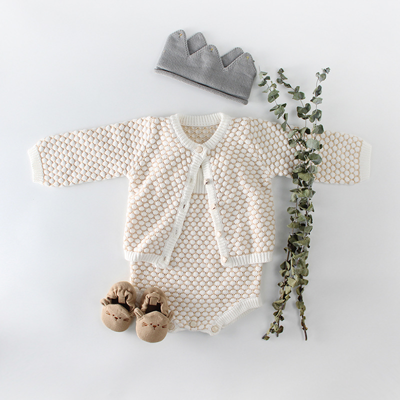 Baby Knitted Romper Autumn Winter Baby Girls Clothes Set Cotton Newborn Cardigan Infant Baby Clothes For Girls Jumpsuit Outfits