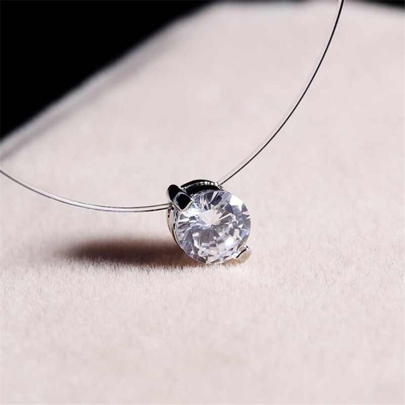 Fashion Silver Color Dazzling Zircon Pendants Necklace Transparent Invisible Fishing Line Clavicle Chain Choker Necklace Jewelry