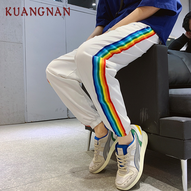 KUANGNAN Men Trousers Striped-Pants Streetwear Colored Casual New Hip-Hop XXL