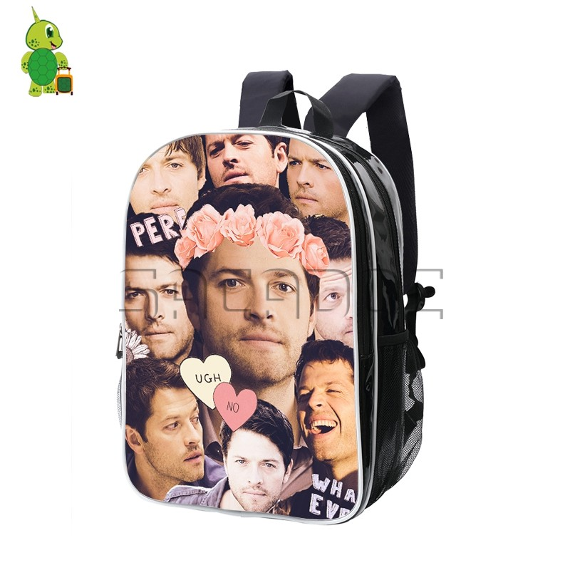 Supernatural Castiel Misha Collins Overlay Backpack Men Women Pu ... 6261bddd41aa6