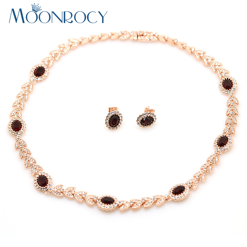 MOONROCY Free Shipping Fashion Crystal Necklace and Earrings Set Rose Gold Color Jewelry Set fashion Hot Gift for women azora lotus rose gold color 1 pair stud earrings and 1pcs necklace fashionable jewelry set for women cute christmas gift tg0273