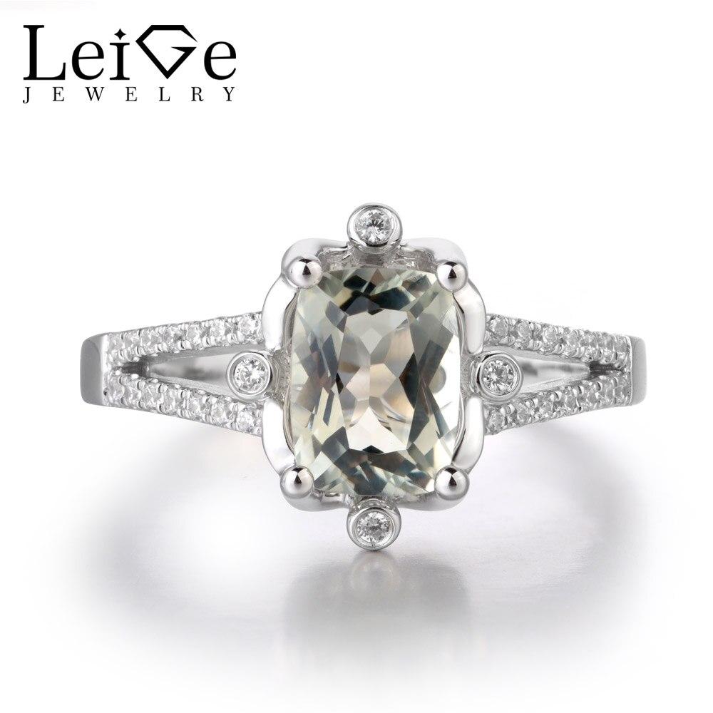 Leige bijoux naturel vert améthyste pierres précieuses coussin coupe anneaux de mariage cadeaux romantiques pour femme 925 argent Sterling