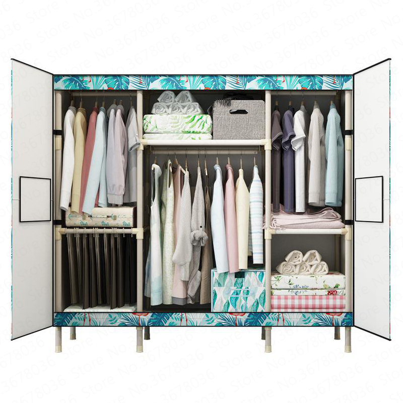 Simple Wardrobe Fabric Steel Frame Steel Tube Bold Reinforcement Double Assembled Door Storage Cloth  Cloth Cabinet Guarda Roupa(China)