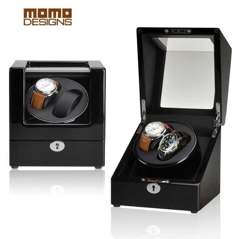 Automatic watch winder 2 rotors with JAPAN motor box reel winnder for Men and Ladys watch showcase ultra luxury 2 3 5 modes german motor watch winder white color wooden black pu leater inside automatic watch winder