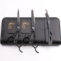 3Pcs/Set M9030 5.5'' Japan Steel 440C Professional Hairdressing Human Hair Scissors Razor + Cutting Shears + Thinning Scissors