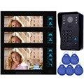 7 ''Câmera de Vídeo Porteiro Campainha Do Telefone Da Porta de Acesso RFID Sistema de controle & 5 1 Câmera de 3 Monitor de Cartão de IDENTIFICAÇÃO F4363A