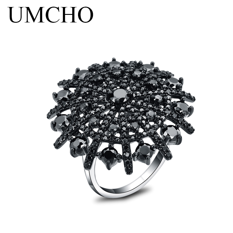 UMCHO Natural Gemstone Black Spinel Ring Solid 925 Sterling Silver Female Cluster Rings For Women Round Fine Jewelry Gift