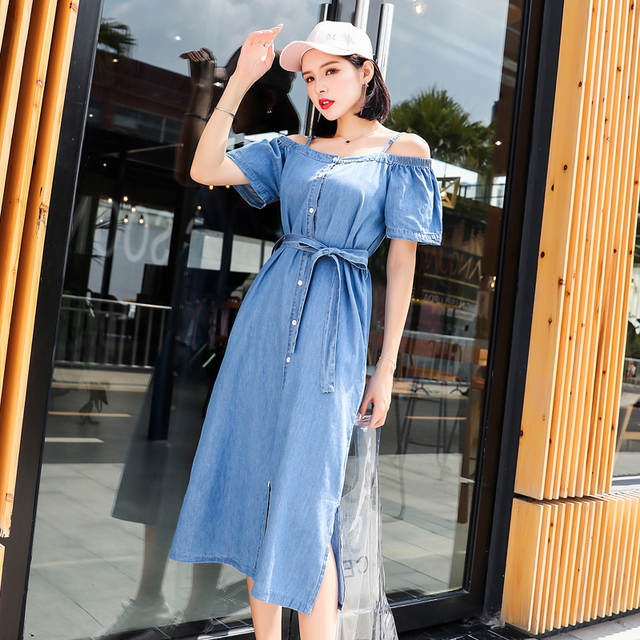 3c395337436 Online Shop PINBEIQI 2018 Summer Korean Style Slim Short Sleeve Blue Denim  Dresses Fashion Women Off Shoulder Jeans Long Dresses
