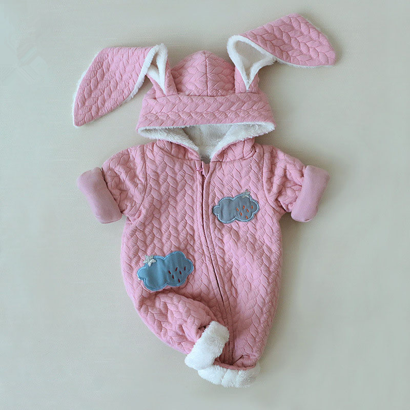 New winter hooded jumpsuit fashion cartoon style warm baby rompers autumn boys girls clothes outfits newborn cloudy rabbit cloth 0 9months autumn winter baby girls boys rompers cartoon cute thick warm hooded jumpsuits newborn clothes infant clothing bc1225