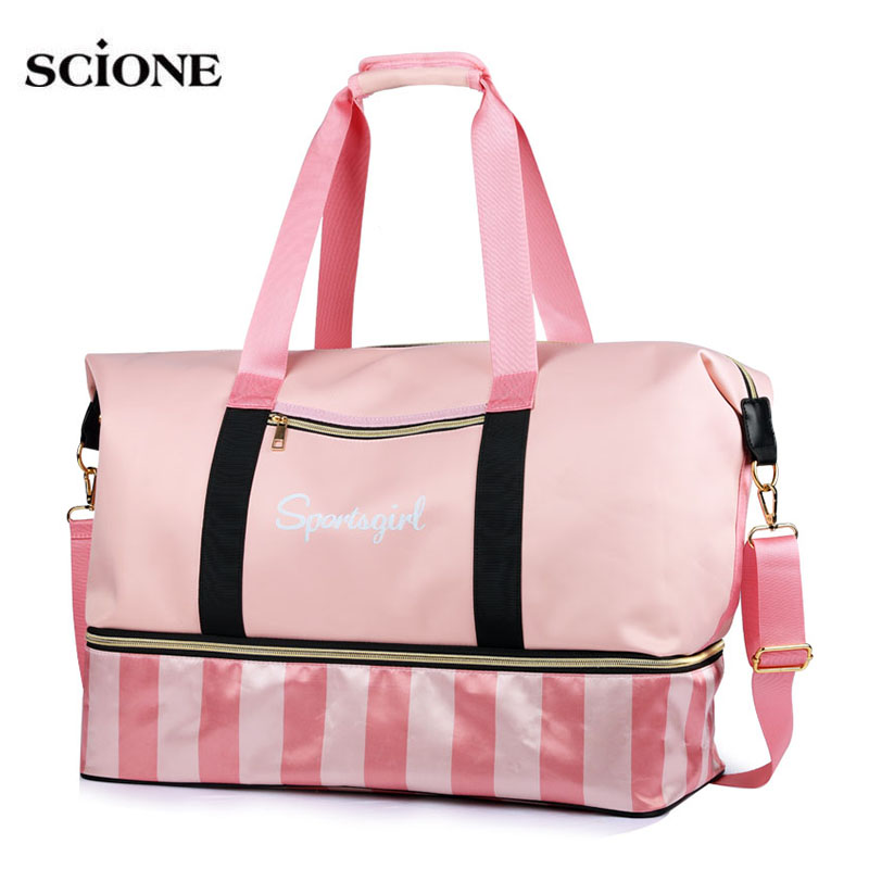 Yoga Bags Gym Tas For fitness Sac De Sport Bag Dry Wet Sports Training gymtas Handbags Travel Swim PINK striped sporttas XA654WA