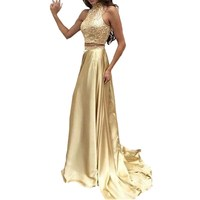 Two Piece Evening Dress 2018 Abendkleid Gold Satin Robe de soiree Long A Line Formal Dresses for Women Beading Gowns