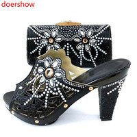 doershow good black Italian Matching Shoes And Bag Set African Style Ladies red Shoes And Bag To Match For Wedding Dress! SM1 2