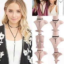 New Hot Long Black Bowknot Leather Rope Copper Tube Choker Collar Necklace For Women Collier Bijoux Accessories Chain Jewelry