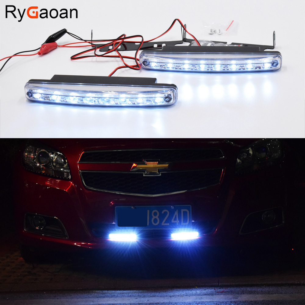RyGaoan 2 Piece LED Car Daytime Running Lights DRL 8 LEDs DC 12V 6000K Automobile light Source Car Styling Real Waterproof