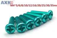 AXK M4 Aluminum Alloy color Phillips Screws Round Head Bolts Cross Slot Screw Bolt green