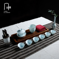 8 Pcs Tea Set Shadowy blue Porcelain Green Tea Chinese Kung Fu 1 Gaiwan 1Serving cup 6 Drinking Cup Ceramic tea cup set
