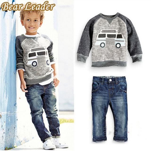 Líder urso Outono Crianças Meninos Conjuntos de Roupas de Manga Comprida T-shirt + Calça Jeans 2 pcs Crianças Ternos Dos Desenhos Animados Do Carro padrão Meninos Conjuntos de Roupas