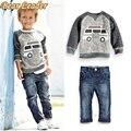 Oso Líder Otoño Muchachos de Los Niños Arropa los Sistemas de Manga Larga t-shirt + Jeans 2 unids Niños Trajes de Dibujos Animados de Coches patrón Conjuntos Muchachos de la Ropa