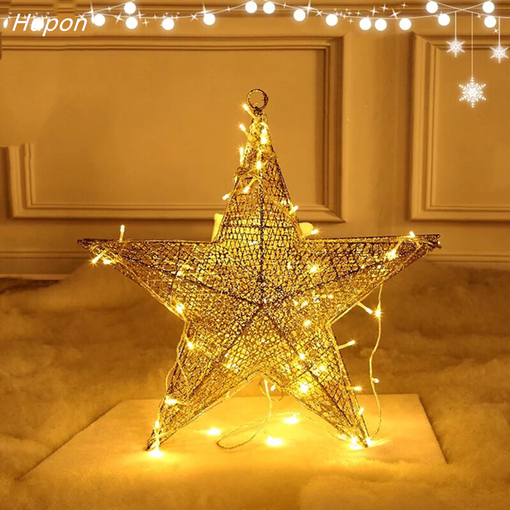 2018 new christmas decorations iron art star xmas tree hanging ornaments romantic christmas window decoration for home pendant in pendant drop ornaments