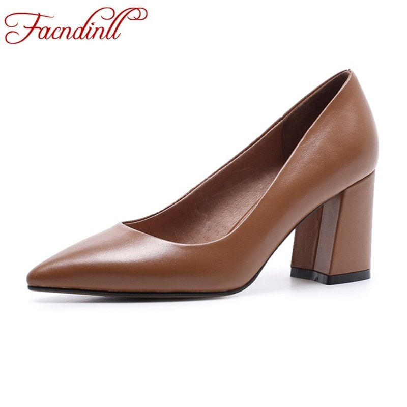 FACNDINLL new spring autumn women pumps genuine leather high heels pointed toe shoes woman black office dress party shoes pumps facndinll shoes 2018 new fashion genuine leather women pumps med heels pointed toe shoes woman dress party casual black pumps