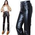 Pantalones de Cuero de moda Las Mujeres de Mediana Edad Otoño Y el Invierno de La Pu Pantalones Ropa Exterior Más El Tamaño de Cintura Alta Recta Loose Pant J320